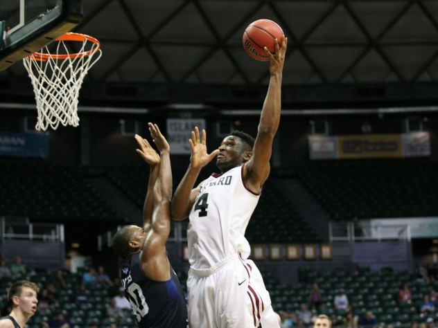Zena Edosomwan (shown here against BYU) averaged 20.3 points and 13.1 rebounds in the Diamond Head Classic. The junior made the all-tournament team and was named Ivy League Player of the Week.