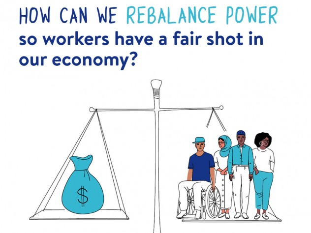 Chart showing a scale balancing workers on one side against a big bag of money on the other