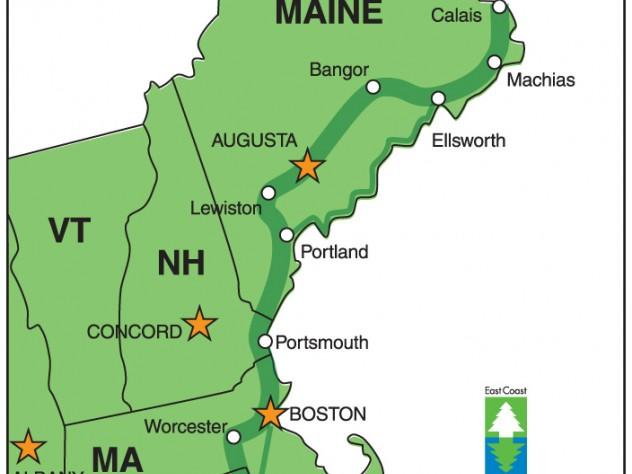 Three new england trips on the east coast greenway harvard magazine map courtesy of east coast greenway sciox Choice Image