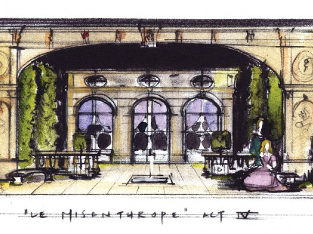 For Molière's <i>The Misanthrope</i> at Berkshire Theatre Festival in Stockbridge, Massachusetts, Sprague's sketch (shown) became a model later built as the play's set.