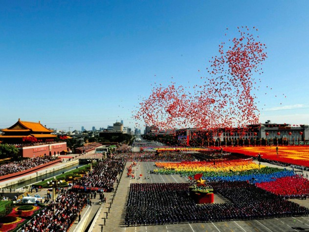Balloons—and tightly managed state stagecraft: the sixtieth-anniversary celebration of the People's Republic of China, held last October