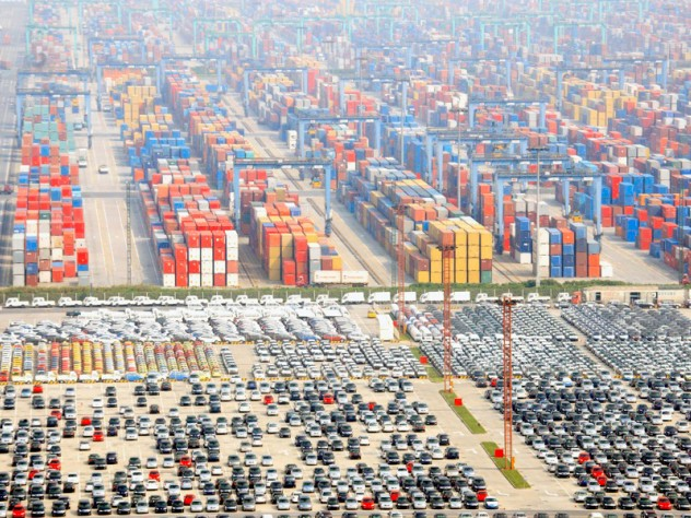 the Pudong International Container Terminals, a tangible sign of China's export prowess