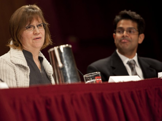 M. Susan Lindee, professor of history and sociology of science at the University of Pennsylvania, and Vamsi Mootha, associate professor of systems biology and of medicine at Harvard Medical School