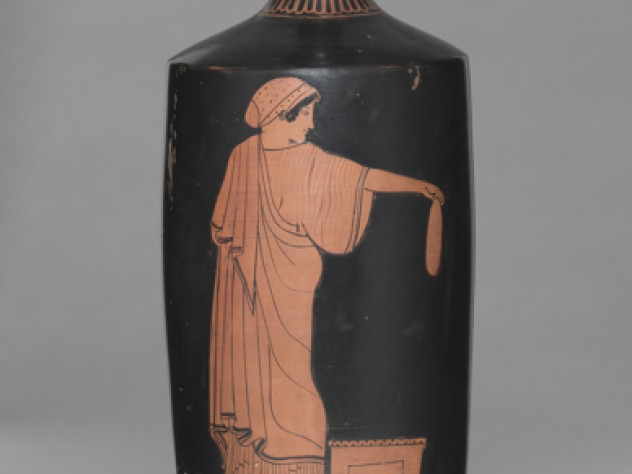 Manner of Douris, <i>Red-Figure Lekythos: Woman Holding an Alabastron,</i> Greek, 480–470 BC.
