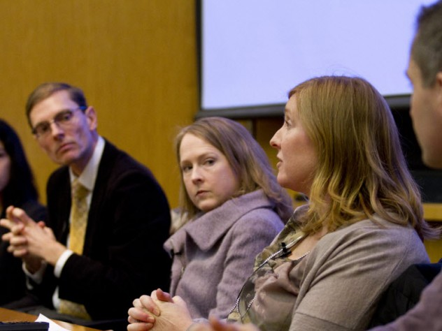 Led by professor of history Maya Jasanoff (from left), Harvard faculty Martin Puchner, Ann Pearson, Hopi Hoekstra, and David Charbonneau participate in Conversations @ FAS, a panel discussion that imagines how current trends may transform the way Harvard faculty teach and carry out their research in the future. The discussion was held in the Tsai Auditorium of CGIS South at Harvard University.