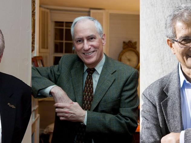 From left: John Ashbery, Robert Darnton and Amartya Sen