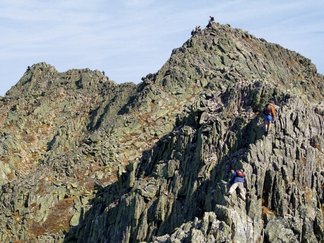 Hikers in Baxter State Park tackle the craggy rocks that form Mount Katahdin's famous Knife Edge…