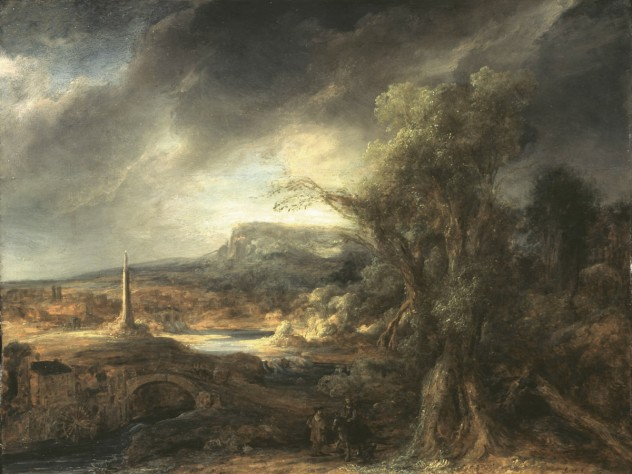 "Govaert Flinck, <i>Landscape with an Obelisk, </i>1638. Oil on oak panel, 54.5 x 71 cm. Inscribed faintly at the foot on the right: R. 16.8 (until recently attributed to Rembrandt). Long attributed to Rembrandt, this work was recognized in the 1980s as the work of his pupil, Govaert Flinck. Of Rembrandt, Isabella Gardner wrote to her friend and advisor: ""I really don't adore Rembrandt. I only like him."" Gardner placed this work on a table alongside a window, opposite Vermeer's <i>The Concert</i>."
