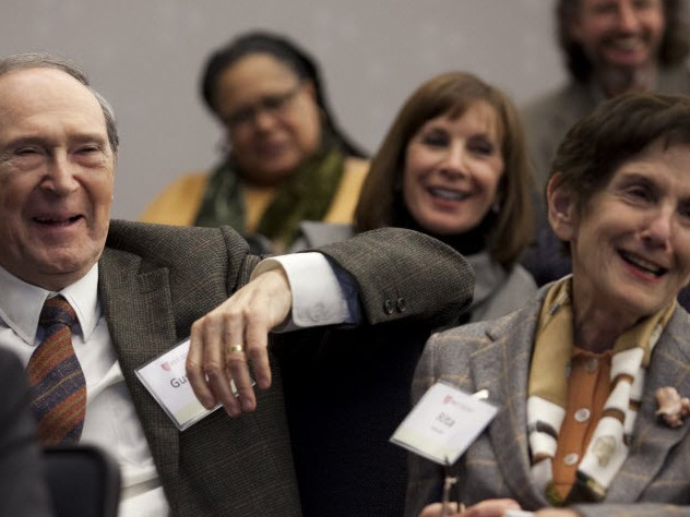 Gustave and Rita Hauser enjoy an afternoon panel.