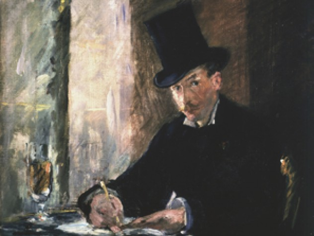 Manet, <i>Chez Tortoni,</i> 1878–1880. Oil on canvas, 26 x 34 cm. Inscribed at the foot on the left: Manet. This picture shows a jaunty gentleman in a top hat writing in a Parisian café. Gardner placed this small work on a table beneath the darker and far more somber portrait of Manet's mother, shown as a widow in a black veil and a silk dress entirely in black. The painting is believed to have been painted in the café, Chez Tortoni, located in the Rue Laffitte, Paris, where Manet frequently lunched.
