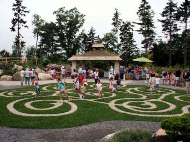 Walkable mazes at Coastal Maine Botanical Gardens