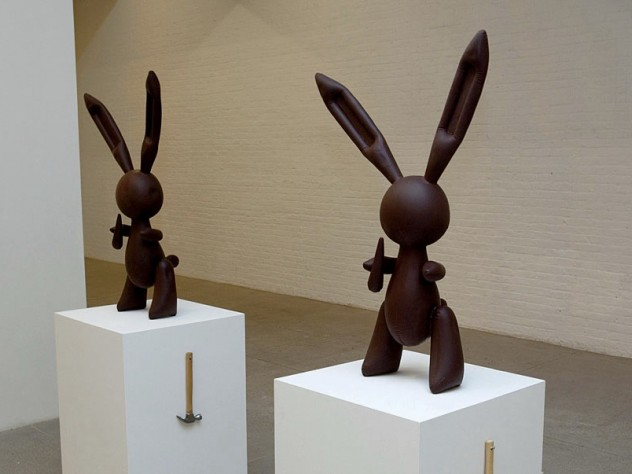 Two of the chocolate bunnies from <i>Creation</i>, prior to being smashed