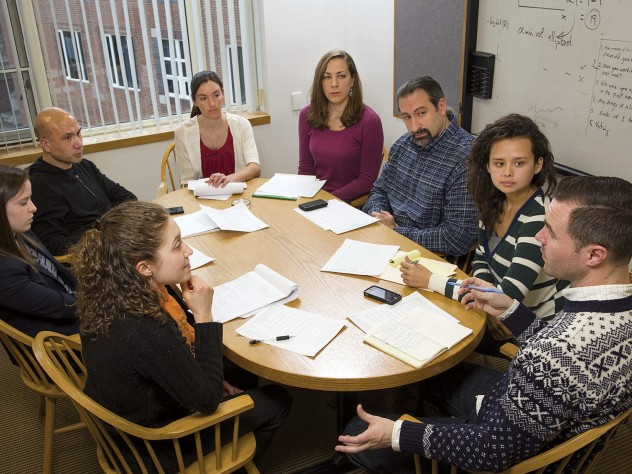 Western and his team of researchers meet regularly to discuss their work. Clockwise from bottom left are Catherine Sirois '10, Caroline Burke '13, Western, Jaclyn Davis, Tracy Shollenberger, A.M. '11, Anthony Braga, M.P.A. '02, Jessica Simes, and David Hureau, M.P.P. '06.