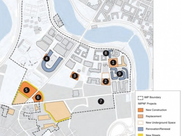 Harvard's new master-plan submission shows the already-approved Allston science center site as the large tan block outlined in yellow at the lower section of the map.