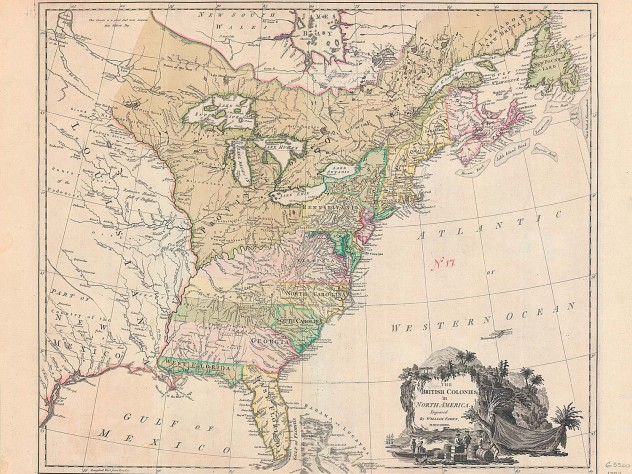 <i>The British colonies in North America,</i> published by William Faden (London, 1777)