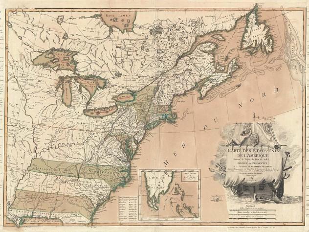 Carte des Etats-Unis de l'Amerique suivant le Traité de Paix de 1783/dédiée et présentée a s. Excellence Mr. Benjamin Franklin...par son trés humble et très obeissant serviteur, Lattré, published by Jean Lattré (Paris, 1784)