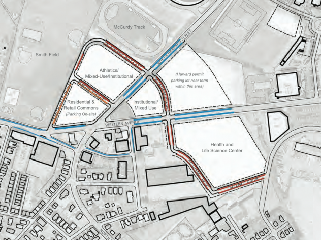 A map showing where the new SEAS facility will be located in Allston.