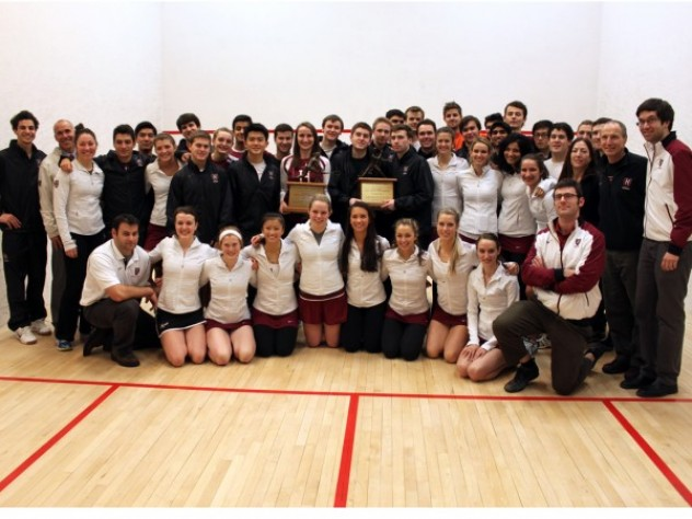 Men's squash captured the national championship against Trinity College at the season-ending tournament of the College Squash Association. The women (pictured above) will vie to repeat as national champs next weekend at Princeton's Jadwin Squash Courts.