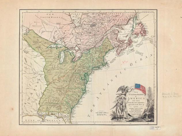 <i>The United States of America laid down from the best authorities: agreeable to the Peace of 1783,</i> published by John Wallis (London, 1783)