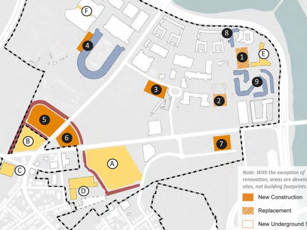 Orange and blue blocks are projects authorized by the Institutional Master Plan. Yellow blocks, previously approved, include the science center (the large quadrilateral).