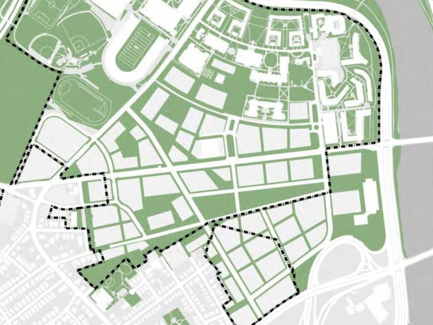 Allston imagined: the schematic indicating potential building along Western Avenue and filling the enterprise research campus (lower right).