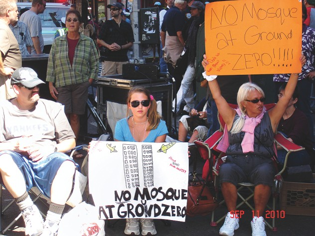 Floridians protest a proposed Islamic Center and mosque two blocks from Ground Zero in 2010.