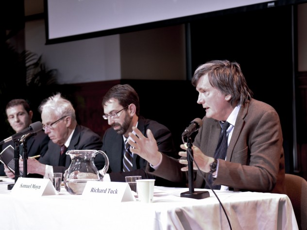 From left to right: Christopher Capozzola, Charles Maier, Samuel Moyn, and Richard Tuck speak at a panel on political theory and World War I.