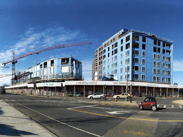 The Continuum residential and retail project at Barry's Corner (see photo position A on map)