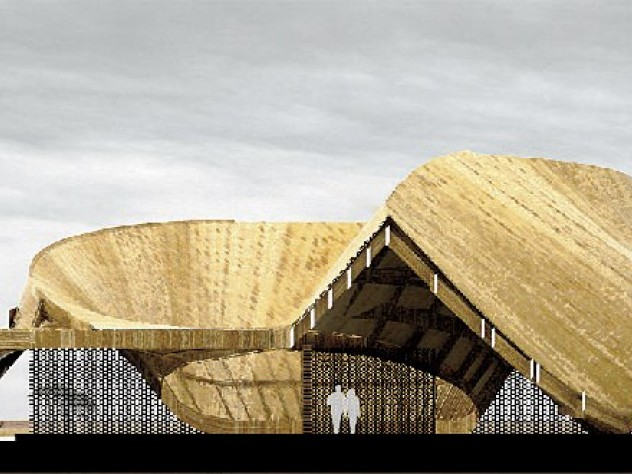 Jordan MacTavish's original student rendering for the Sinthian Cultural Center