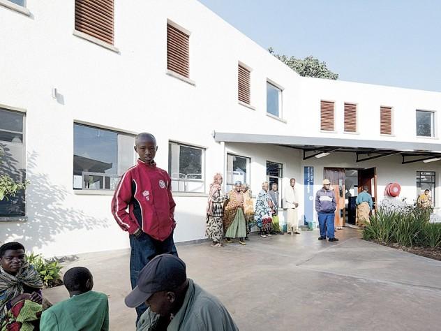 An outdoor space in Rwanda's Butaro Hospital