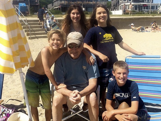 Bill Jenkins, enjoying the beach with his grandchildren last June, joined a clinical study exploring the value of early palliative care after his cancer diagnosis in 2011.