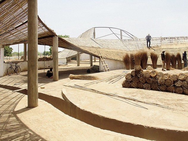 The Sinthian Cultural Center's undulating roof, under construction