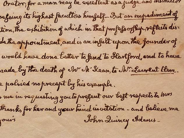 Excerpt of a letter from John Quincy Adams