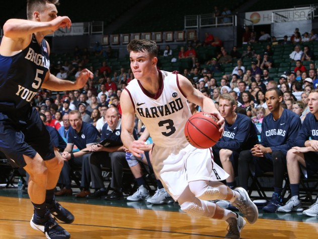 Tommy McCarthy '19 (shown here in earlier action against Brigham Young) led Harvard with 21 points on Saturday against Cornell, none more important than the game-winning basket with six seconds remaining.