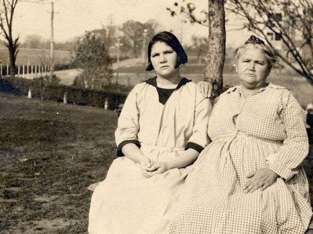 "The State of Virginia's 1927 decision to sterilize an allegedly ""feebleminded"" Carrie Buck (shown with her mother the day before her trial) was supported by the U.S. Supreme Court."