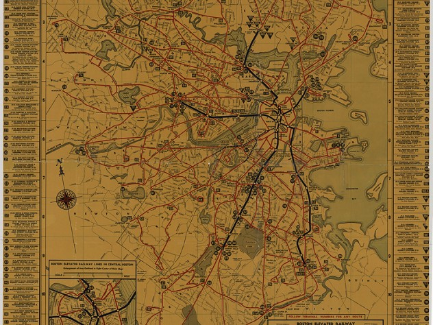 A map shows blue and red rail lines traversing across the Boston area