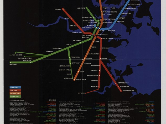Four brightly colored Boston subway lines superimposed on a black, undetailed map outline of the city