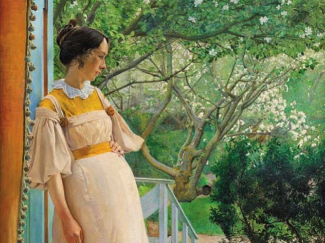 Painting of a young woman standing at a French window, looking at a verdant garden