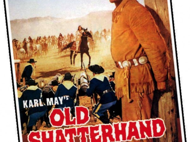 A movie poster advertising Old Shatterhand, showing the frontiersman tied to a stake