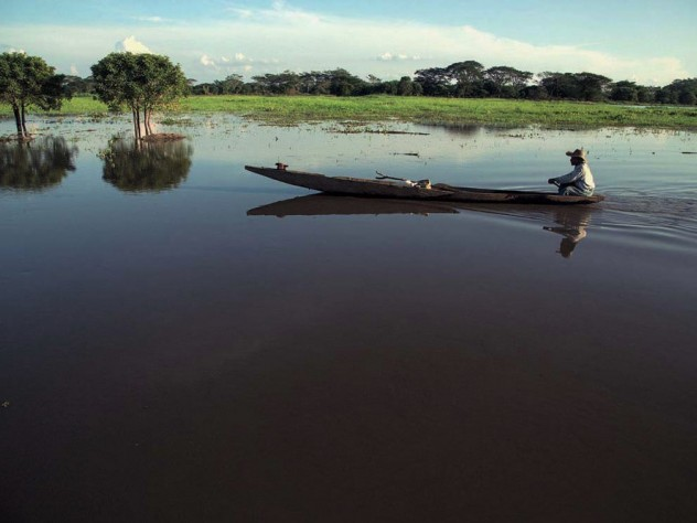 A Colombian fisherman in his boat on one of the Magdalena River's wetlands