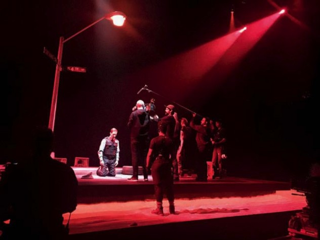 Photograph of a camera crew filming the stage production of Pass Over
