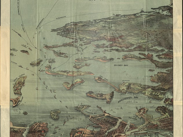 An illustrated, three-dimensional map of Boston showing details of buildings and boats across its water bodies