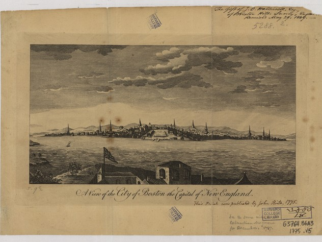 A sketch of a view of Boston from across the water