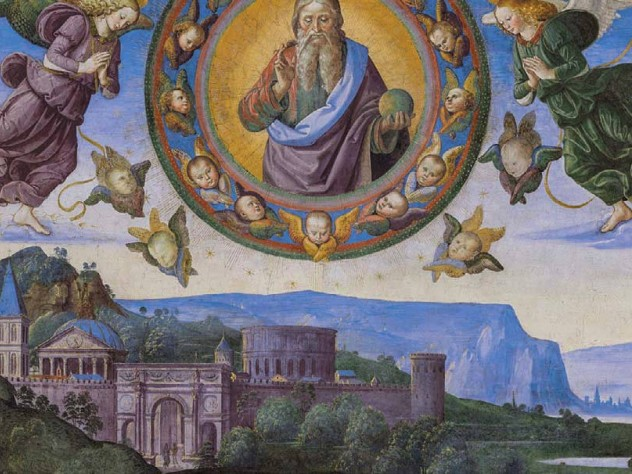 Perugino image of angels and Jesus above a skyline, from the Sistine Chapel