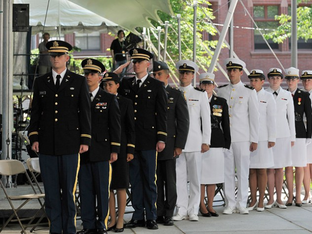 During Commencement Week 2010, the Reserve Officers' Training Corps Harvard Class of 2010 await their commissioning.