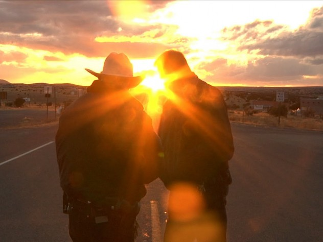 Two police officers in New Mexico, in a scene from the film.