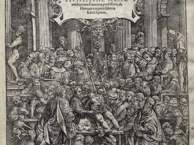 The title page of Andreas Vesalius's renowned anatomy textbook depicts a public dissection.