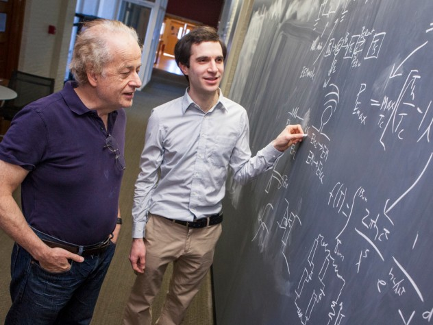 Harvard physicists Federico Capasso (left) and Steven J. Byrnes are part of a team proposing a new way to harvest renewable energy.