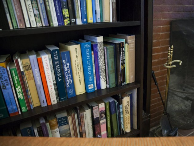 Books about Irish literature fill the shelves of the suite.