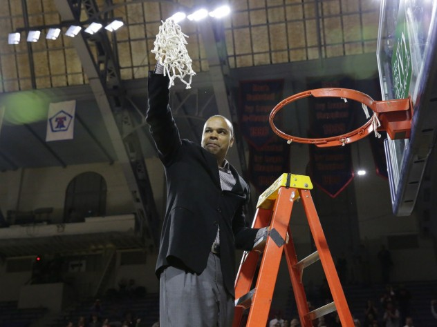 Tommy Amaker, the Stemberg Family head coach of men's basketball, cut down the nets. Amaker has led the Crimson to five straight Ivy League titles.